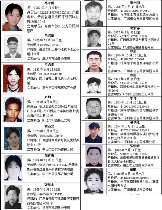 广东通缉百名重刑犯每扭送一名奖5000元(组图