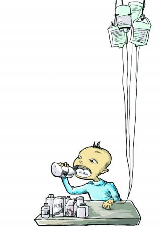 医生打针卡通图片; 英国医生蹲点浙乡镇医院 对小儿发热挂盐水亮红牌