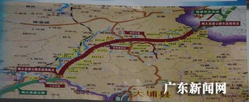 梅大高速公路东延线走向图.丘佳纳