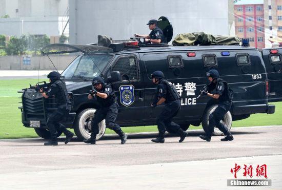 图为图为城市反恐演练。中新社发 广东公安厅 供图