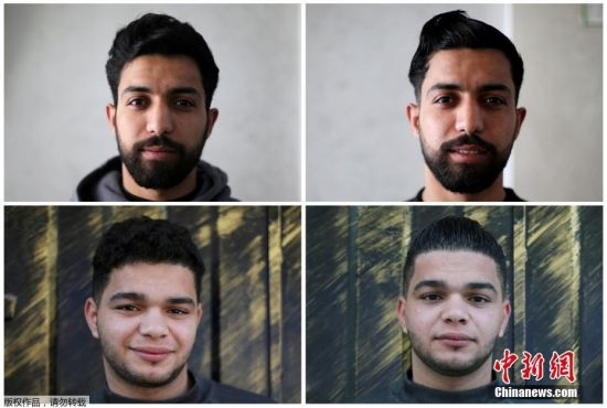 2月2日,在加沙南部拉法难民营一家美发厅,一名巴勒斯坦美发师用火给顾客拉直头发。图为造型前(左)与造型后(右)的对比。