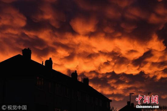 当地时间2017年10月28日,英国Saltburn-by-the-Sea,日落时分天空中出现乳状云。这种在积雨云下方形成的乳状型积云,是当下降气流里头温度较冷的空气与上升气流中温度较暖的空气相遇,而形成如同一个个袋子形状的云朵。 图片来源:视觉中国