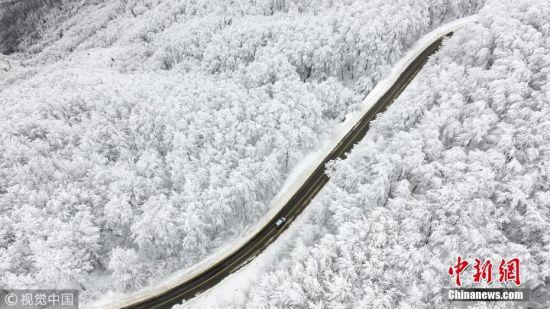当地时间2018年1月15日,土耳其卡斯塔莫努,航拍当地雪景。图片来源:视觉中国