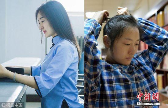 2月5日消息,今年25岁的杜美珍2017年6月毕业于河南大学会计专业,曾经在北京一家会计事务所实习工作。农村出身的她和很多年轻人一样,渴望到大城市闯一闯,在北京发展。然而就在她满心欢喜地准备留在北京工作时,2017年6月,美珍的二弟凯文被检查出白血病。为了照顾弟弟,她回到郑州打工。左图为美珍毕业时的纪念照,右图为美珍近照。(拼版图片) 乙图 摄 图片来源:视觉中国