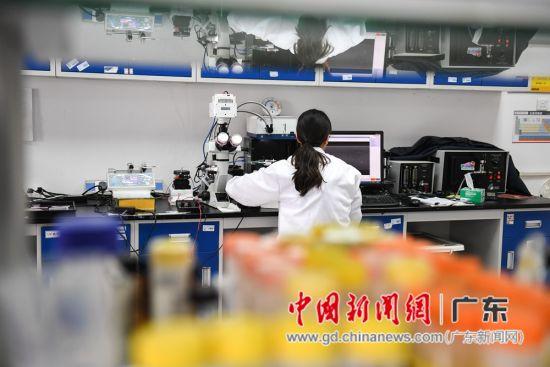 实验室中的研究员和学生在进行实验研究。