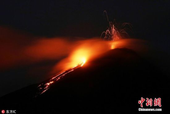当地时间5月3日,危地马拉首都危地马拉城,帕卡亚火山活动频繁,喷发出火红岩浆,岩浆流长度达500米。帕卡亚火山是危地马拉最活跃的火山之一。