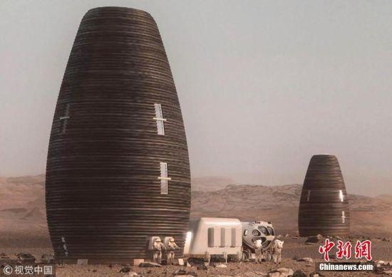 2018年8月2日消息,据报道,美国国家航空航天局(NASA)举办了一个3D打印住宅挑战赛,要求设计团队设计出人类在火星上的住宅。5支决赛入围团队将需在2019年春季前打印出大小为其方案1/3的住宅模型。获奖者将得到200万美元的奖金(约合人民币1362万元)。图为入围作品概念图。 图片来源:视觉中国