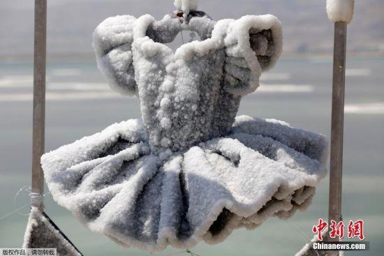 """当地时间8月30日,以色列死海,以色列艺术家 Sigalit Landau继续新的艺术创作。2014年,她把一件黑色礼服放入""""世界最深的咸水湖""""――死海之中,两年后再打捞出来,这条长袍已经发生了翻天覆地的变化。"""