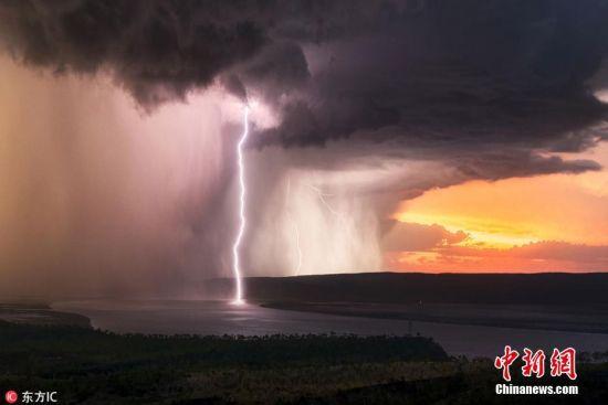 10月8日报道(具体拍摄时间不详),勇敢的风暴追逐者Jordan Cantelo今年4月在澳大利亚西部金伯利地区捕捉到一场震撼的狂躁风暴,只见在阳光的映衬之下,乌云与天空变幻成橙粉色、灰蓝色的惊人色泽,道道闪电随倾盆大雨穿行入海,恍如世外景象。图片来源:东方IC 版权作品 请勿转载