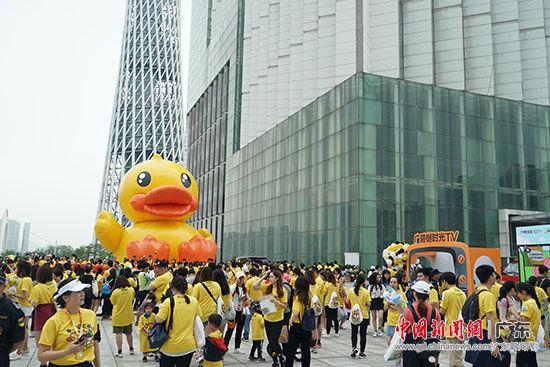 巨型充气小黄鸭与广州塔相映成趣