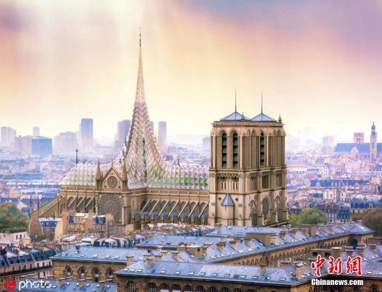 5月9日报道(具体拍摄时间不详),在巴黎圣母院的塔尖被大火烧毁之后,许多建筑师提出了重建方案。近日,法国建筑师Vincent Callebaut提出了他的改造方案,即将其改造成一座现代环保建筑。文字来源:中青网 图片来源:ICphoto