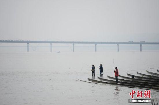 5月13日,受连日降雨影响,湘江长沙段水位涨至30.98米,较5月11日8时升高了0.53米,出现今年较高水位,已进入主汛期。图为湘江长沙段岸边,市民正在钓鱼。杨华峰 摄