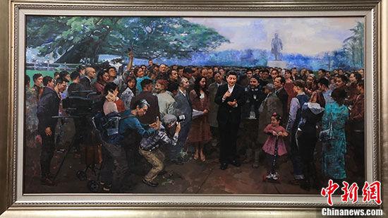 2018年谢楚余创作的大型油画《改革再出发》(微缩版)