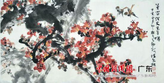 知名中国画家陈志雄红棉画作品参加义展。 索有为 摄