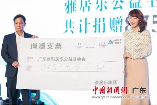 陈卓林向雅居乐公益基金会捐款。钟欣 摄
