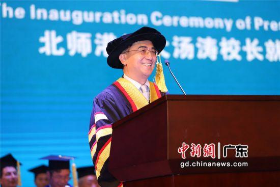 国际著名计算数学家、中国科学院院士汤涛教授履任北师港浸大第二任校长。杨炜民摄影
