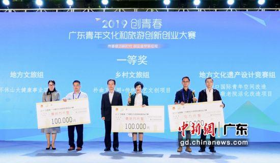 """2019""""创青春""""广东青年文化和旅游创新创业大赛决赛共评出最终共评出一等奖3名、二等奖6名,三等奖15名。作者:主办方供图"""