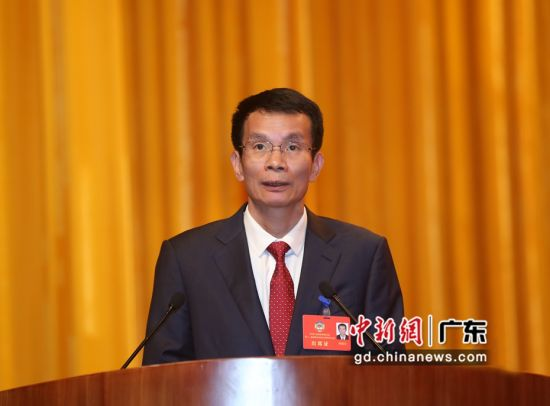 图为林惜文在广东惠州市政协十二届四次会议闭幕大会上讲话 宋秀杰 摄