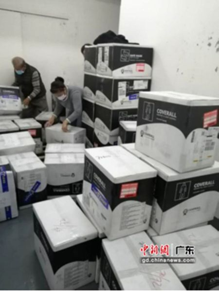 祈福集团向广州市番禺区捐赠的医疗物资。作者:受访者提供
