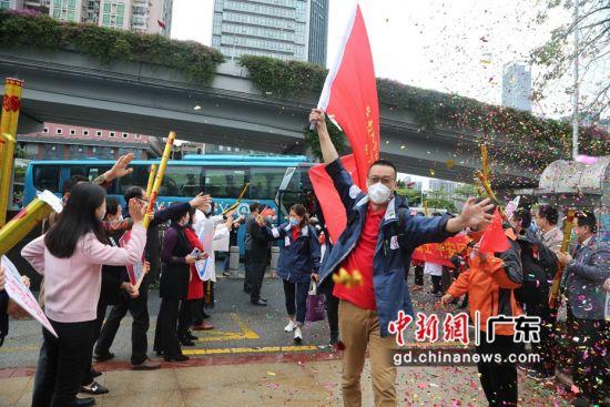 暨南大学部分援鄂医疗医疗队员平安返回广州。作者:暨南大学附属第一医院供图