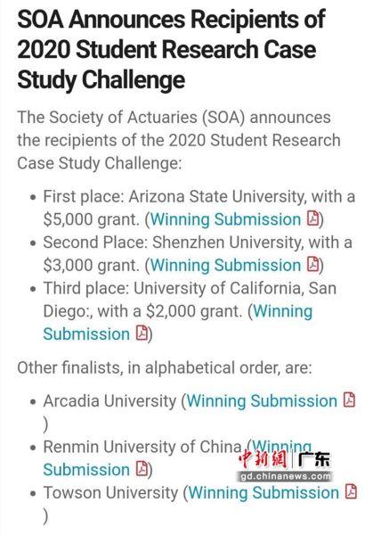 图为SOA全球学生案例研究挑战赛获奖名单。摄影:深圳大学 供图