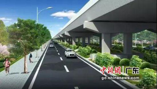 广深高速两侧沿线道路及绿化提升工程效果图。麻涌宣供图