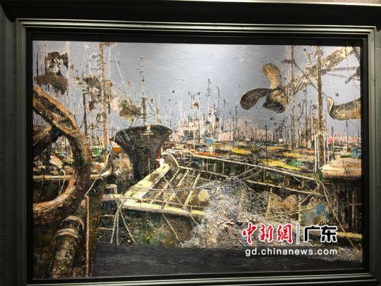 图为王少甫《休渔季节》风景油画作品 宋秀杰 摄