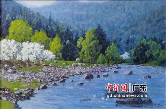 蒋庆北作品《兴安岭春色》、(大芬美术馆供图)