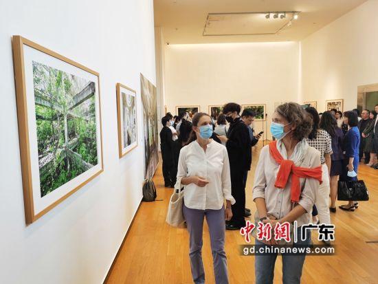 图为观众参观法国摄影师作品展。