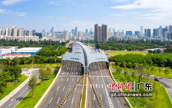 深圳滨海大道跨月亮湾大道主线桥31日通车(前海管理局 供图)