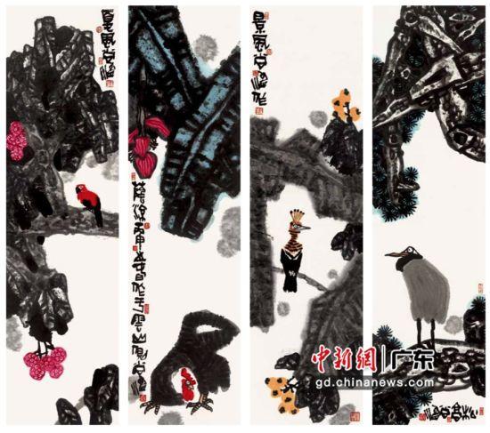 尚涛《秋高、景风、阴凉、夏风》4条屏。受访者 供图