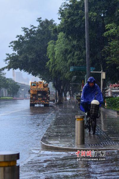 市民在暴雨中出行。 作者 文国辉(实习生)