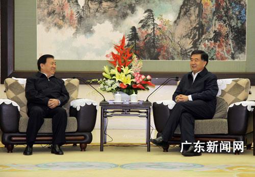 广东省委书记汪洋在广州珠岛宾馆红棉厅亲切会见安徽
